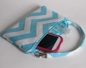 SALE- Simple Everyday Wristlet, Cell Phone Zipper Pouch, iPhone Wristlet Wallet, Gadget Pouch, Under 20, Holiday Gift Idea For Her