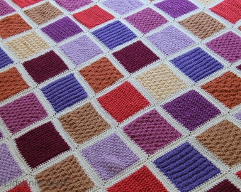 "Large Colorful Cotton Hand Knit Afghan (50"" x 70"")"