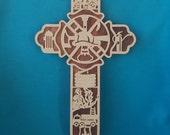 Firefighters Wooden Scroll Saw Cross