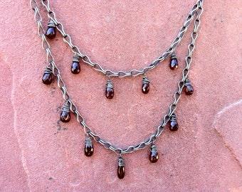 Garnet Drop Victoria Necklace