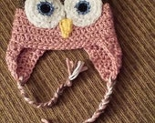 Crocheted Pink Owl Hat - Child's