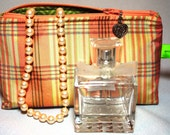 Cosmetic bag makeup bag toiletries bag silk peach maize plaid glasses case phone case camera case
