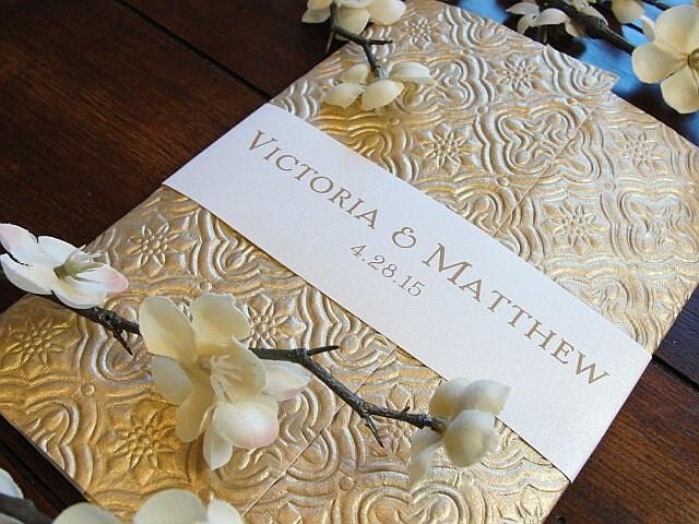 Gold Embossed Wedding Invitations: Wedding Invitation, Wedding Invite, Indian Invitations