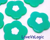 6 Huge Floral Acrylic Beads Charms. 2 Tones. Aqua. 31mm.