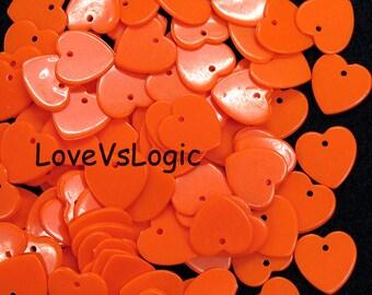 100 Valentine Heart Chip Acrylic Charms. Papaya.