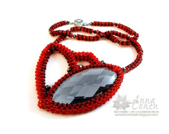 Red flower and black pepper pendant FREE SHIPPING
