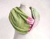 Rosebud-hypoallergenic all natural summer weight knit infinity scarf soft cool cotton & silk