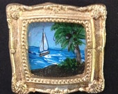 Dollhouse Miniature Art, Sailboat & Coconut Palm Tree, SFA Seascape Painting 1:12 scale Original Art by Penny StewArt