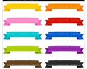 banner ribbons clip art - Chic Stitched Ribbon Banners - Digital Clip Art