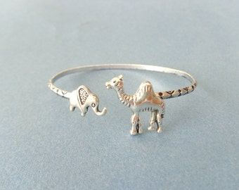 silver elephant and camel bracelet, animal bracelet, charm bracelet, bangle