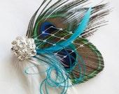 BARBIE - Peacock Feather Hair Clip Headpiece Fascinator Malibu Blue Teal Turquoise Russian Veil Rhinestone Wedding Bride Bridal Bridesmaid