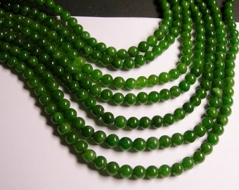 Jade - 6 mm round beads -1 full strand - 64 beads - color - green Jade - RFG1163