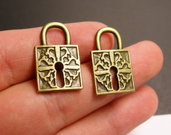 10  antique brass lock charms two sided - lock charms - BAZ103