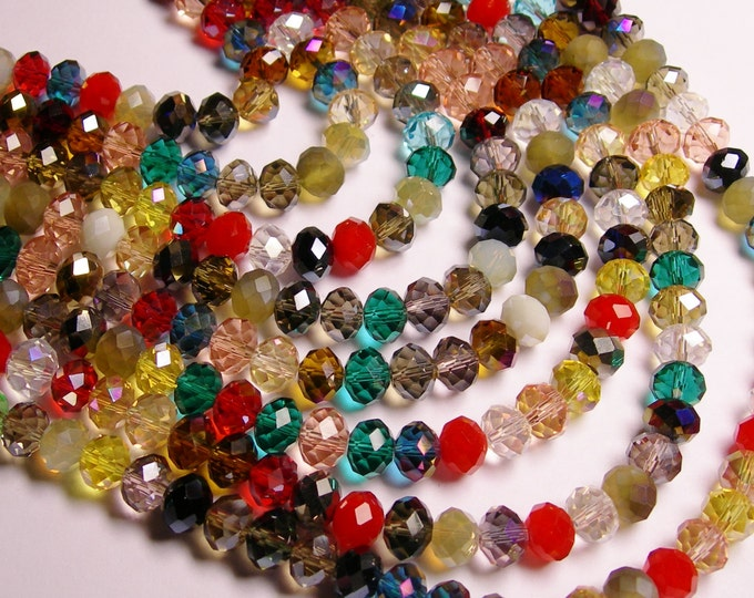 Crystal faceted rondelle - 70 pcs -  10 mm - A quality - mix color - 20 inch strand - WCMC14