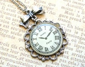 Clock Necklace, Antiqued Silver Clock with Butterfly Knot Necklate - Iceblues