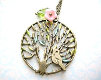 Tree  Necklace - Tree with bird, flower and leaf