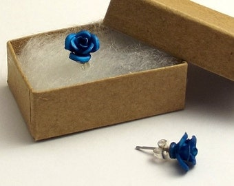 Blue Rose Earrings, Medium in Gift Box