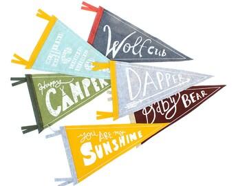 Design Your Own Pennant Flag, Wall Decor, Wool Pennant Flag, Children Room Decor, Printed Wall Banner, Strawberry Moth, Screenprinted Flag