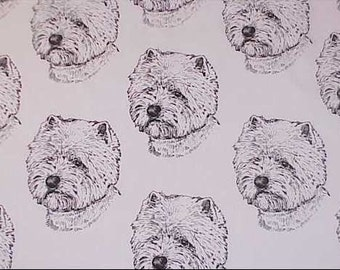 WESTIE Dog Fabric West Highland White Terrier Fabric 1 yd