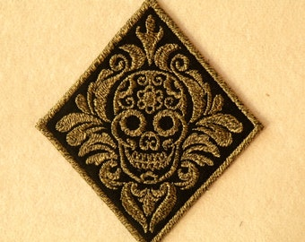 Damask Calavera Iron on Patch