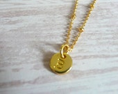 Tiny Gold Initial Necklace- Letter B