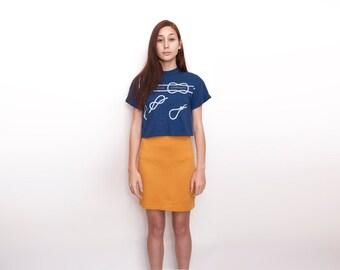 NOS Vintage mustard tube Skirt size S