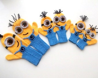 Kids,Baby,Adult Despicable Me Minion Mittens Gloves-MINION style fingerless gloves-Knitting Mittens or Crochet Mittens