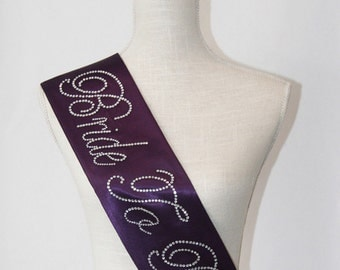 Bride To Be- Bachelorette Sash -  Pink, Silver  Blue, Navy Blue, Vintage Beige, Purple, Deep Purple & Lilac