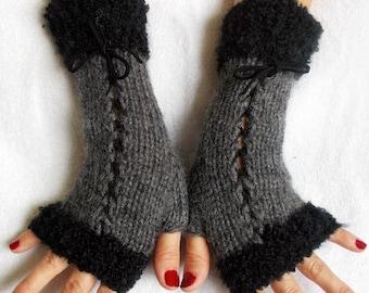 Knit Grey Black Fingerless Corset Gloves Women Wrist  Warmers
