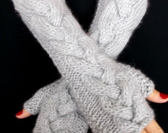 Fingerless Gloves Hand Knit Wrist Warmers Silver Grey Soft Cabled