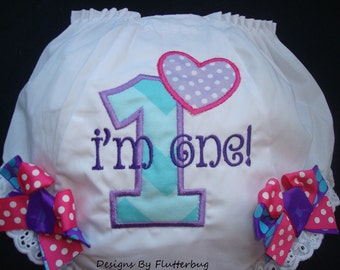 1ST BIRTHDAY Diaper Cover Bloomers - I'm One Diaper Cover -Appliqued Number and Heart in Purple, Hot Pink and Aqua Dots