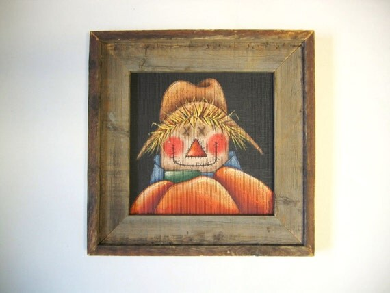 Scarecrow with Orange Pumpkin, Large Primitive Barn Wood Frame, Tole Painted on Black Screening, Hand Painted Scarecrow Man, Autumn or Fall