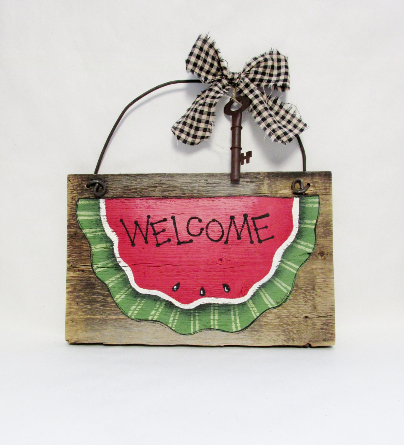 Watermelon Welcome Sign Barn Wood Welcome Tole Painted