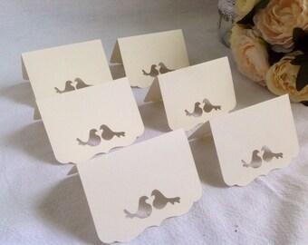 Love Birds theme Wedding Place Cards - 50 Escort cards Birds theme, Ivory or White.