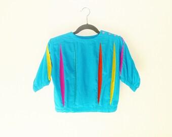 kRAzY kAT Vintage 1980's Neon Halfsie Crop Top with Pleated Jester Motif Size Medium