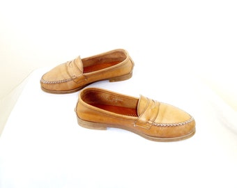 VIntage 1980's Sun-Dyed Tan Leather Preppy Slip-On Penny Loafers by Dexter
