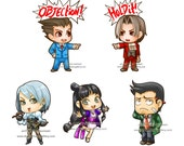 Phoenix Wright Sticker set of 5