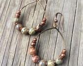 Copper Earrings Copper Jewelry African Opal Hoop Earrings