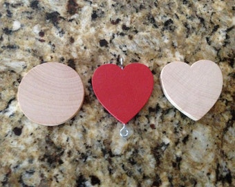5 UNPAINTED Wood Hearts for Birthday Chart