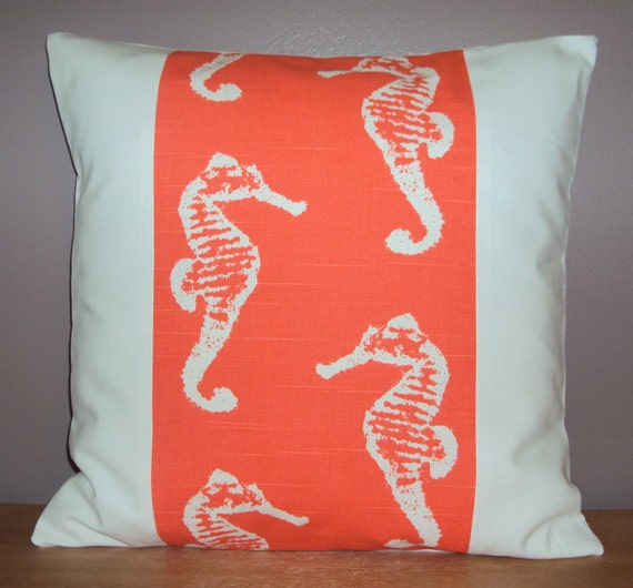 Items similar to Coral Salmon Sea Horse Panel Beach Theme Nautical Decorative Pillow Cover ...