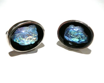 Vintage dichroic light blue glass cuff links silver tone unique mens