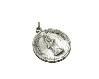 Vintage St Barbara Religious charm Creed silver