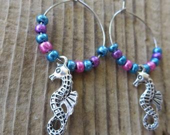 Silver Seahorse Charm and Beaded Hoop Earrings