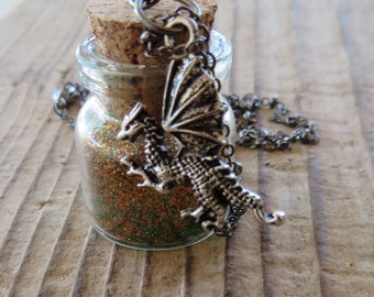Game of Thrones Inspired Rhaegal Dragon Apothecary Jar with Green and Bronze Glitter and Silver Dragon Charm Necklace