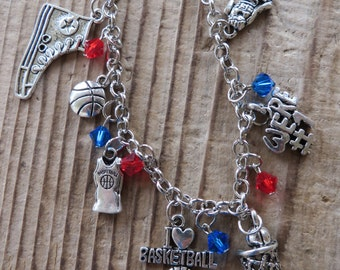 I Love Basketball Customizable Silver Charm and Crystal Bracelet