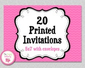 20 PRINTED INVITATIONS , 5x7 Invitations with Envelopes , SHIPS within 1-2 days by The Trendy Butterfly