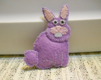 Felt Bunny Pin in Lavender Lightly Stuffed all Hand Sewn   Happy Easter