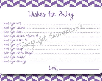 PRINTABLE Wishes for Baby Cards - Unique Baby Shower Activity Game or Memory Book Idea - Purple