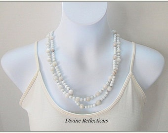 White Necklace, Double Strand Gemstone Necklace, Hand Knotted