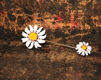 Vintage Pink Daisy Hat Pin